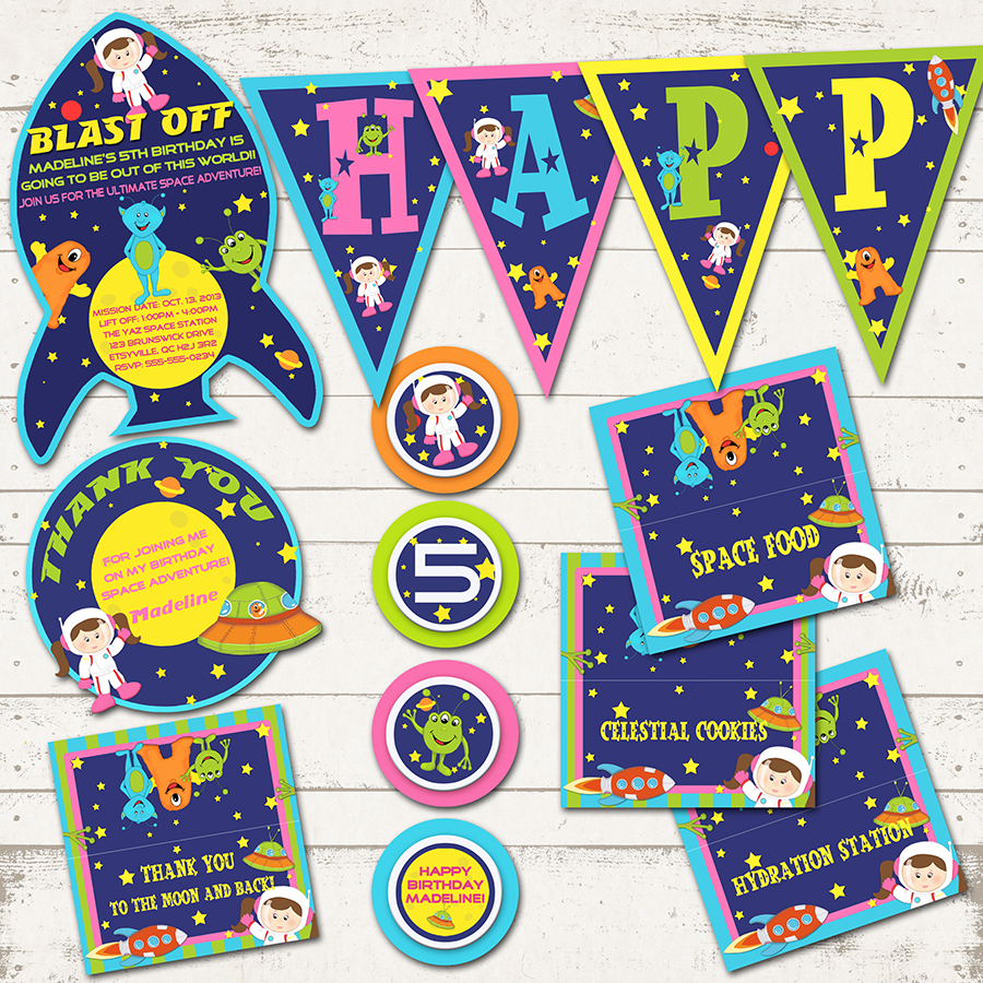 Outer space birthday party girl astronaut rockets for Space themed stationery