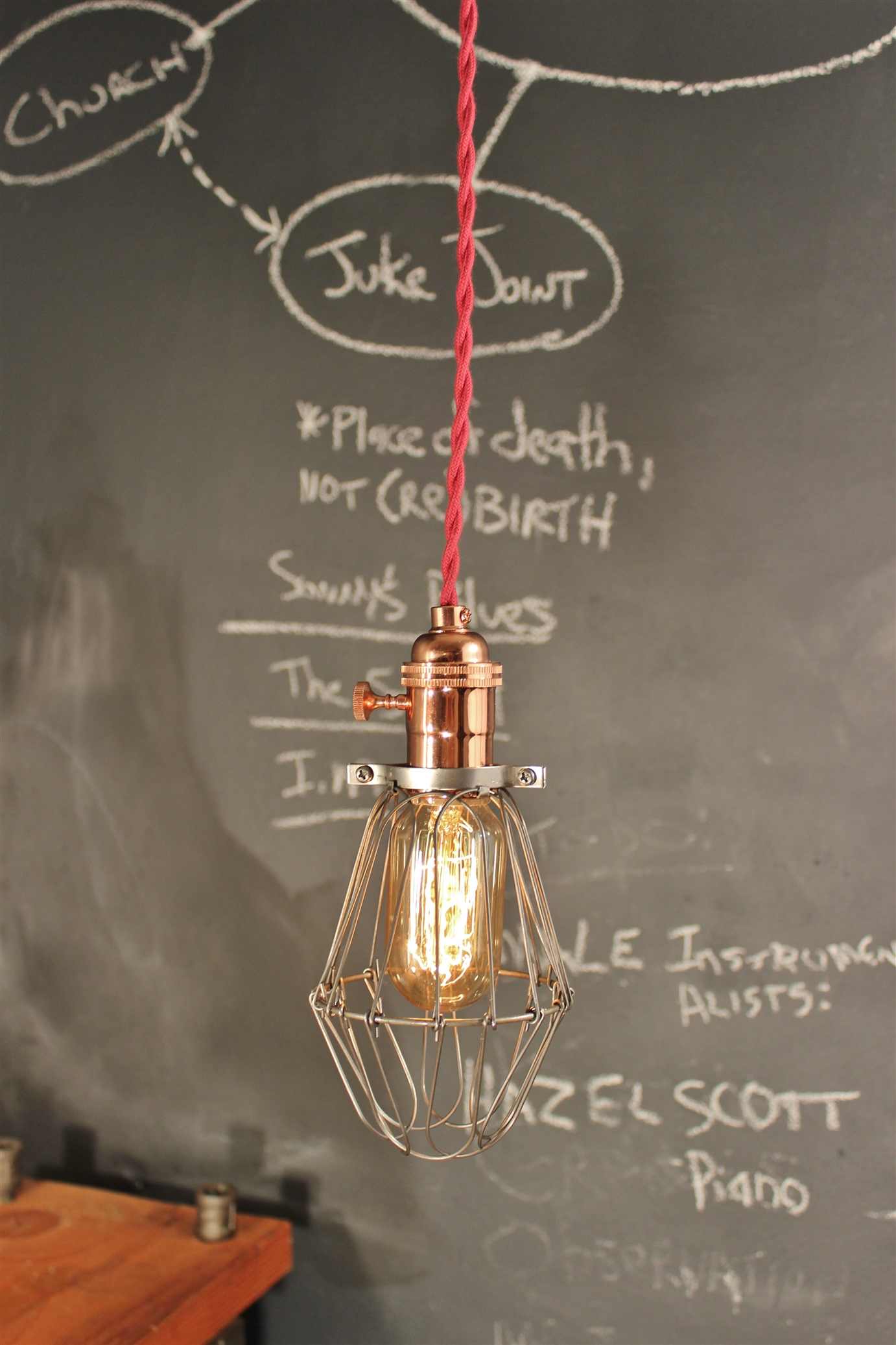 Vintage industrial copper cage pendant lamp from dw vintage lighting co
