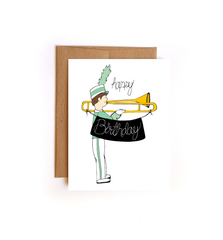 Happy Birthday Marching Band Geek Greeting Card Trombone Player