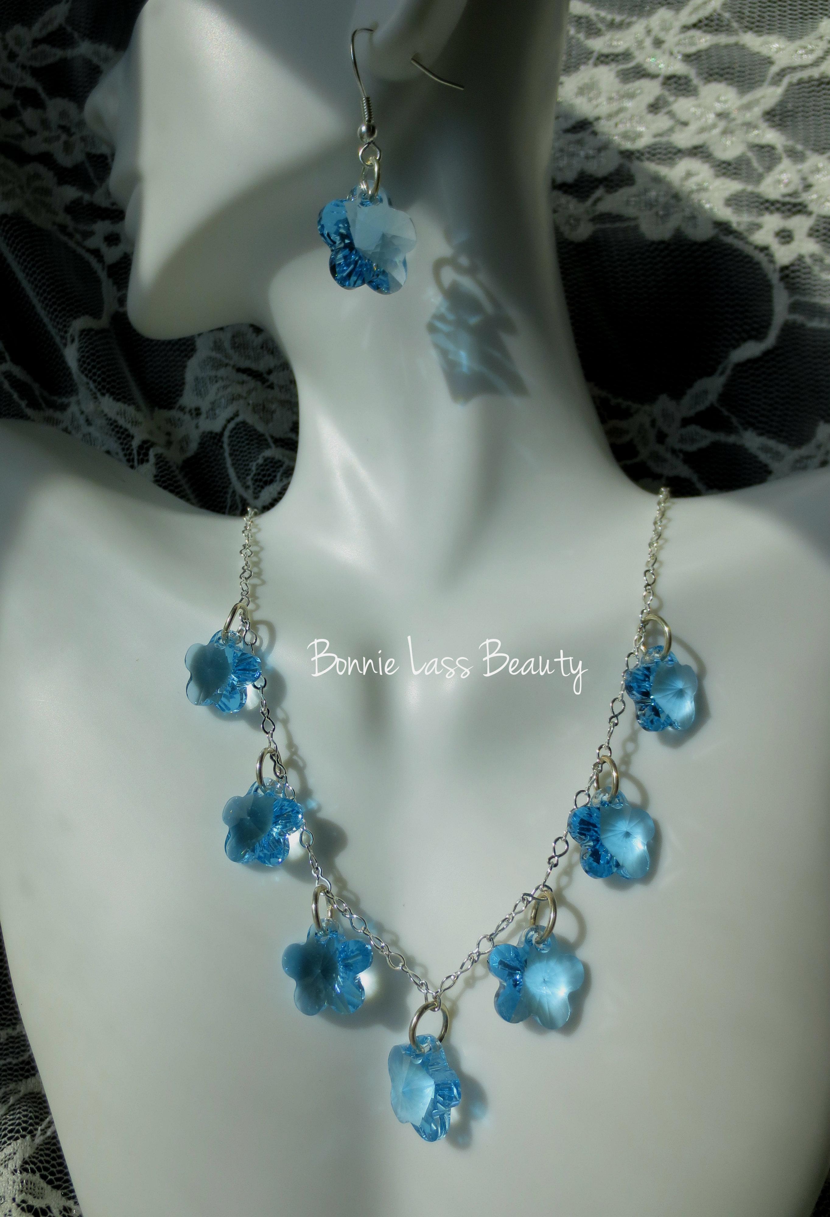 0194fd4e3 Blue Swarovski Crystal Flower Necklace and Earring set · Bonnie Lass ...