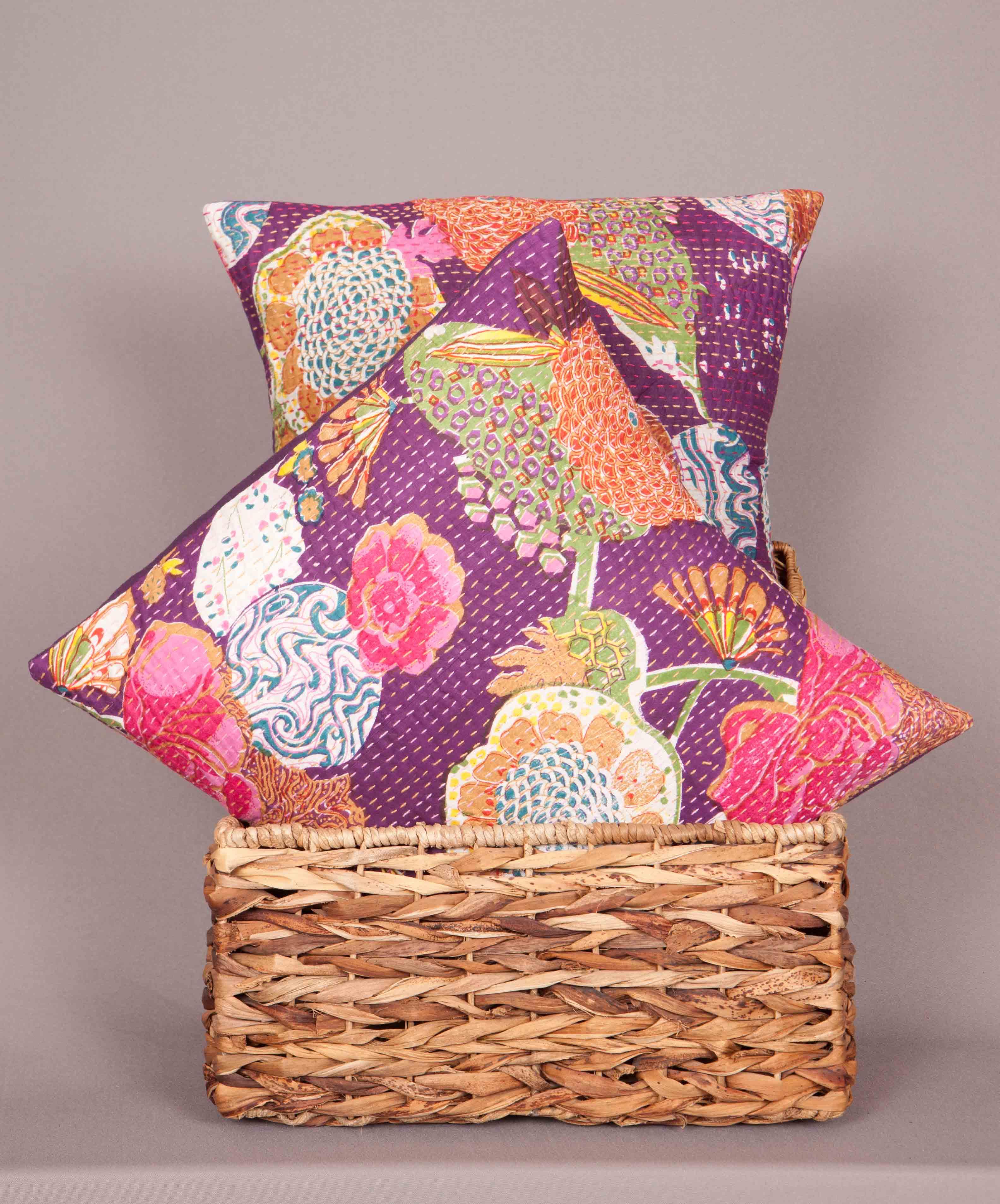 cushion pillow throw cover pillows handmade indian kantha indigo boho pin bohemian