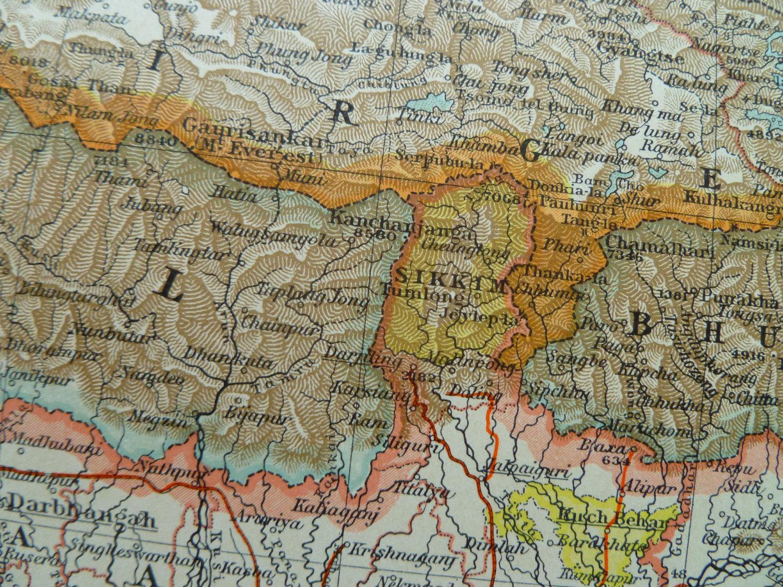 1902 large old map North India Nepal Tibet Sikkim - antique print -  Indien/Inde/Népal/Himalaya 44x56cm/17x22'' from OldVintageMaps