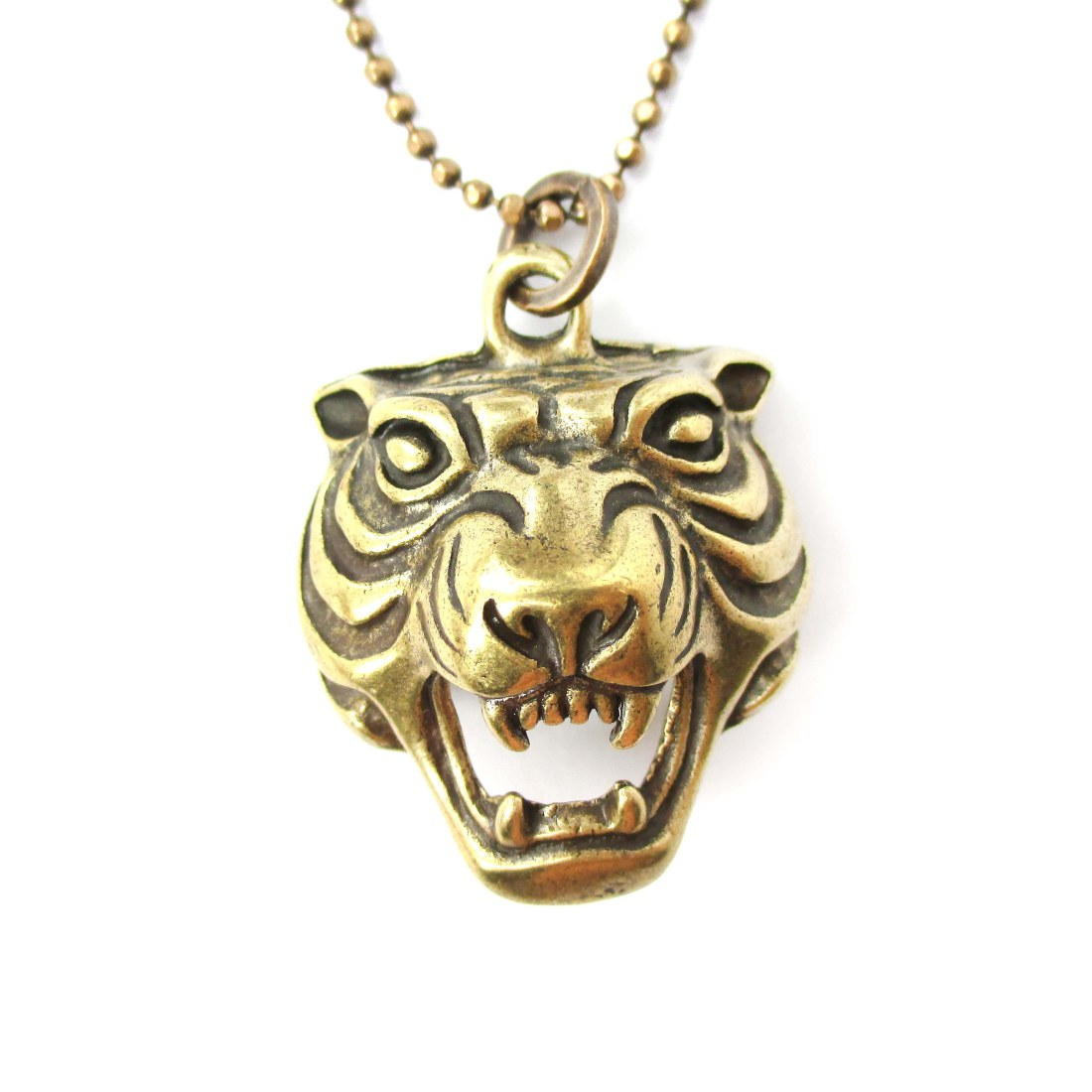 Fierce Tiger Face Head Shaped Animal Pendant Necklace In