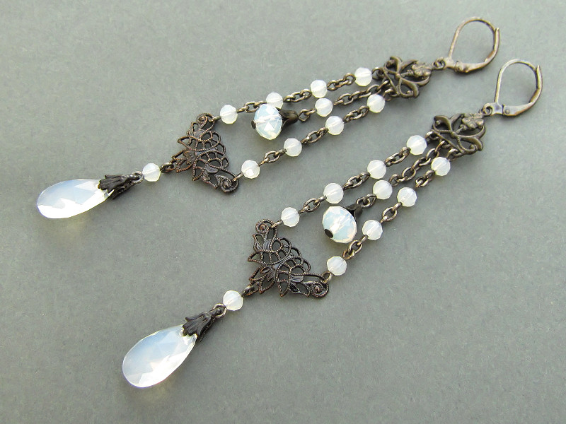 be5876d46e30 Anima - extraordinary gunmetal black Edwardian inspired earrings with  Swarovski almond opal beads