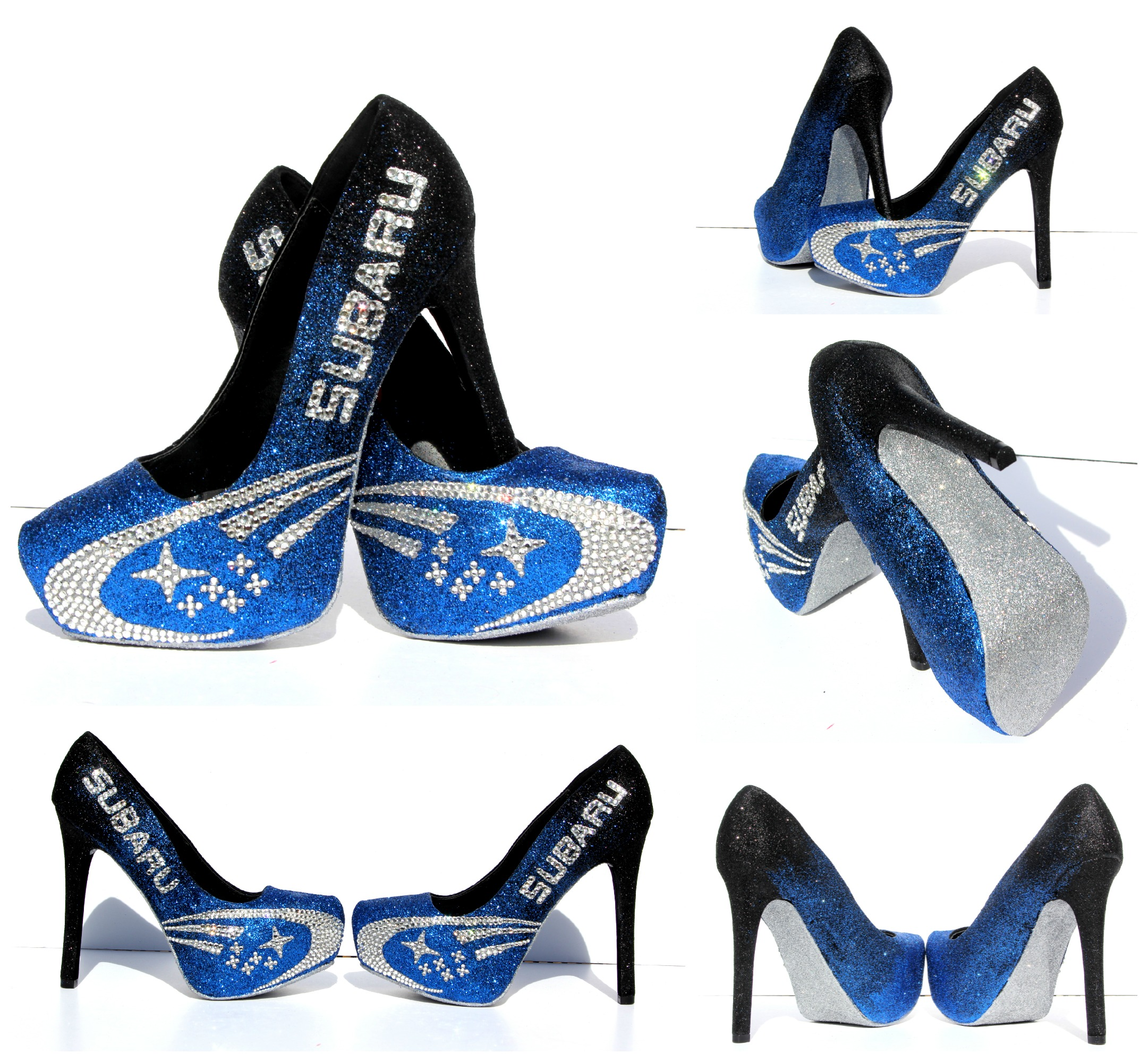 Black And Blue High Heels