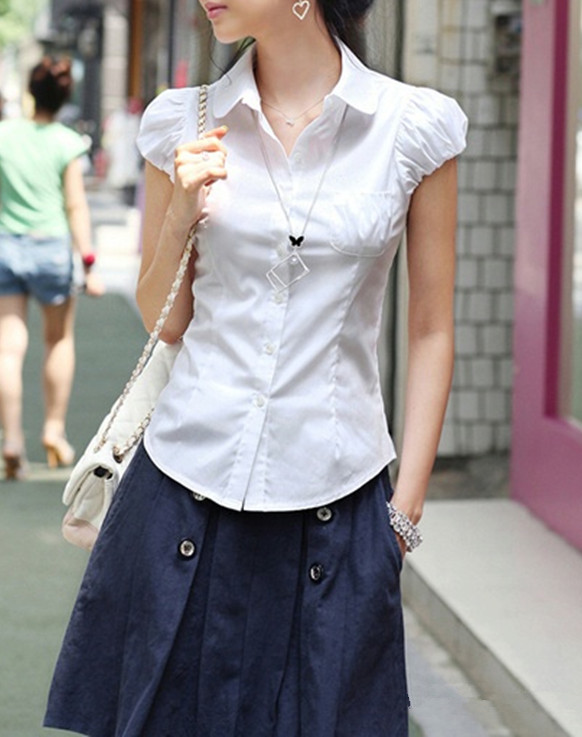 Xs S M White Pan Collar Button Up Short Puff Sleeve Shirt Gothic