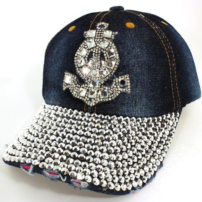 cdffc910873e94 Nautical Anchor Rhinestone Studded Baseball Cap on Storenvy