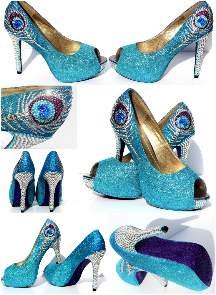Peacock Heels in Aqua Blue and Purple Glitter Heels with Swarovski ...