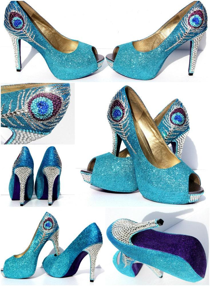 Peacock Heels in Aqua Blue and Purple Glitter Heels with Swarovski ...