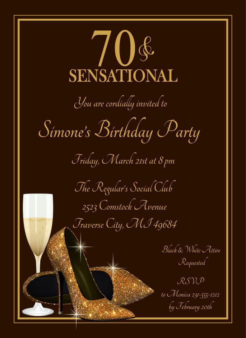 70th Glitter Shoes Invitation Champagne Glass Gold