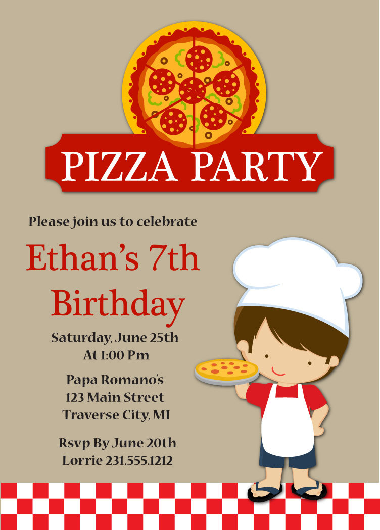 Pizza Party Invitation - Kids Pizza Party Birthday Invitation - Boy ...
