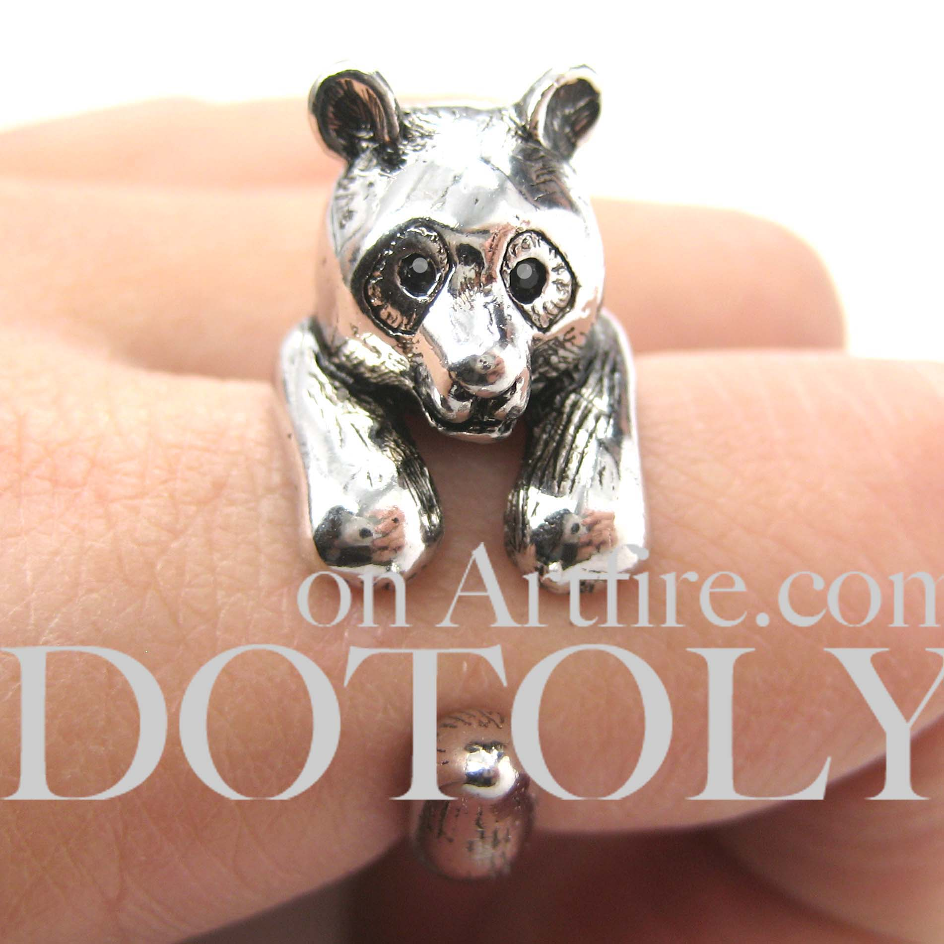 Bear In Hing Reng 2: 3D Panda Bear Ring In SHINY Silver