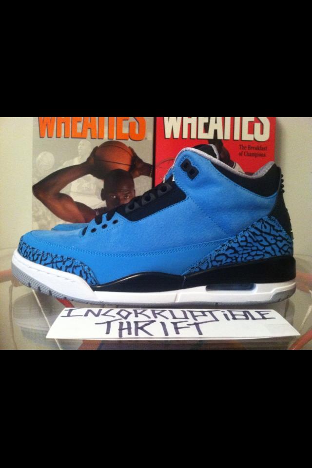 127a3c3a5ff Powder Blue Air Jordan 3's · Incorruptible Thrift Shop · Online ...