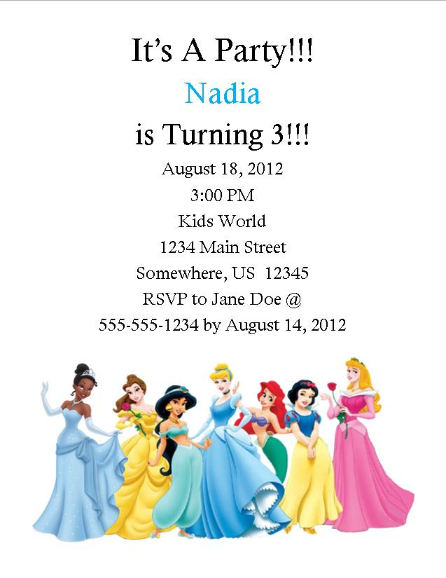 Disney Princess Birthday Invitation 1