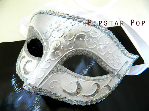 Silver White With Silver Trim Masquerade Mask With Hand