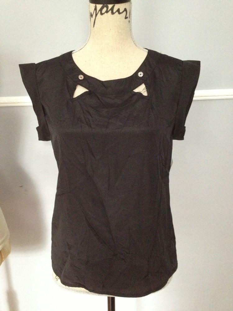 400f373d4fa1f Zinga Black Cutout Top With Gold Buttons / Size Small · Vintage ...