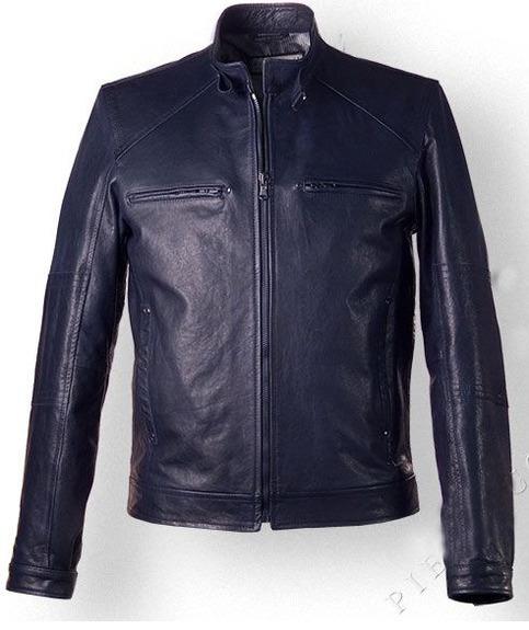 Mens Vintage Style Leather Jacket In Dark Blue Color On