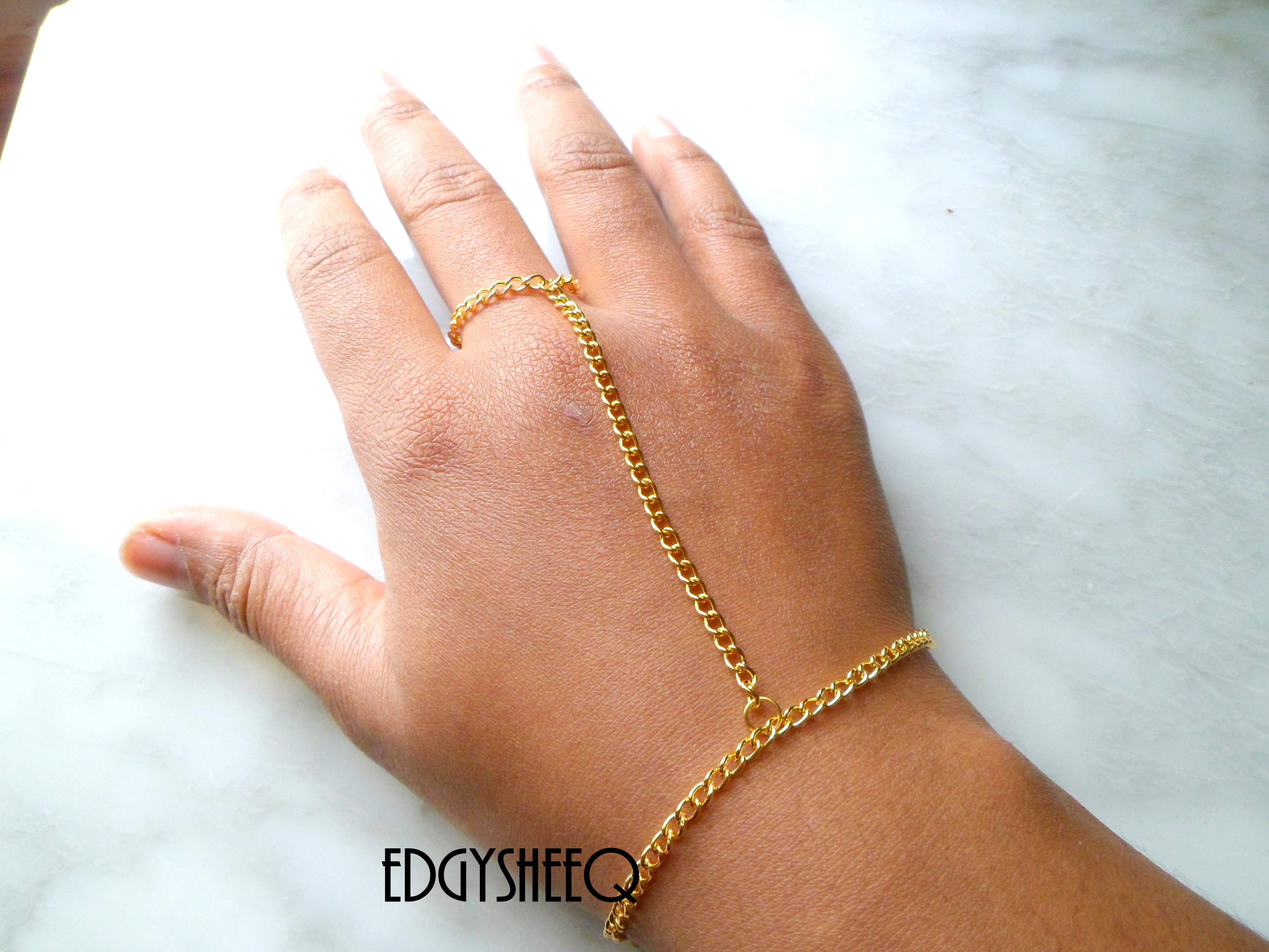 Gold Hand Chain Attached Ring To Bracelet Simple Hand To Wrist