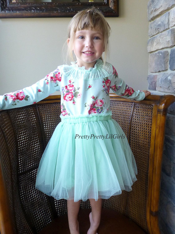 Mint Dress Baby Girl Dress Flower Girl Dress Girls Lace Dress Girls Long Sleeve Dress Mint Dress Tulle Dress Tutu Dress From Pretty Pretty Lil