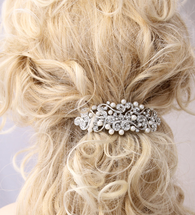 Crystal Pearl Hair Barrette Bridal Wedding Hair Accessory. Old ...