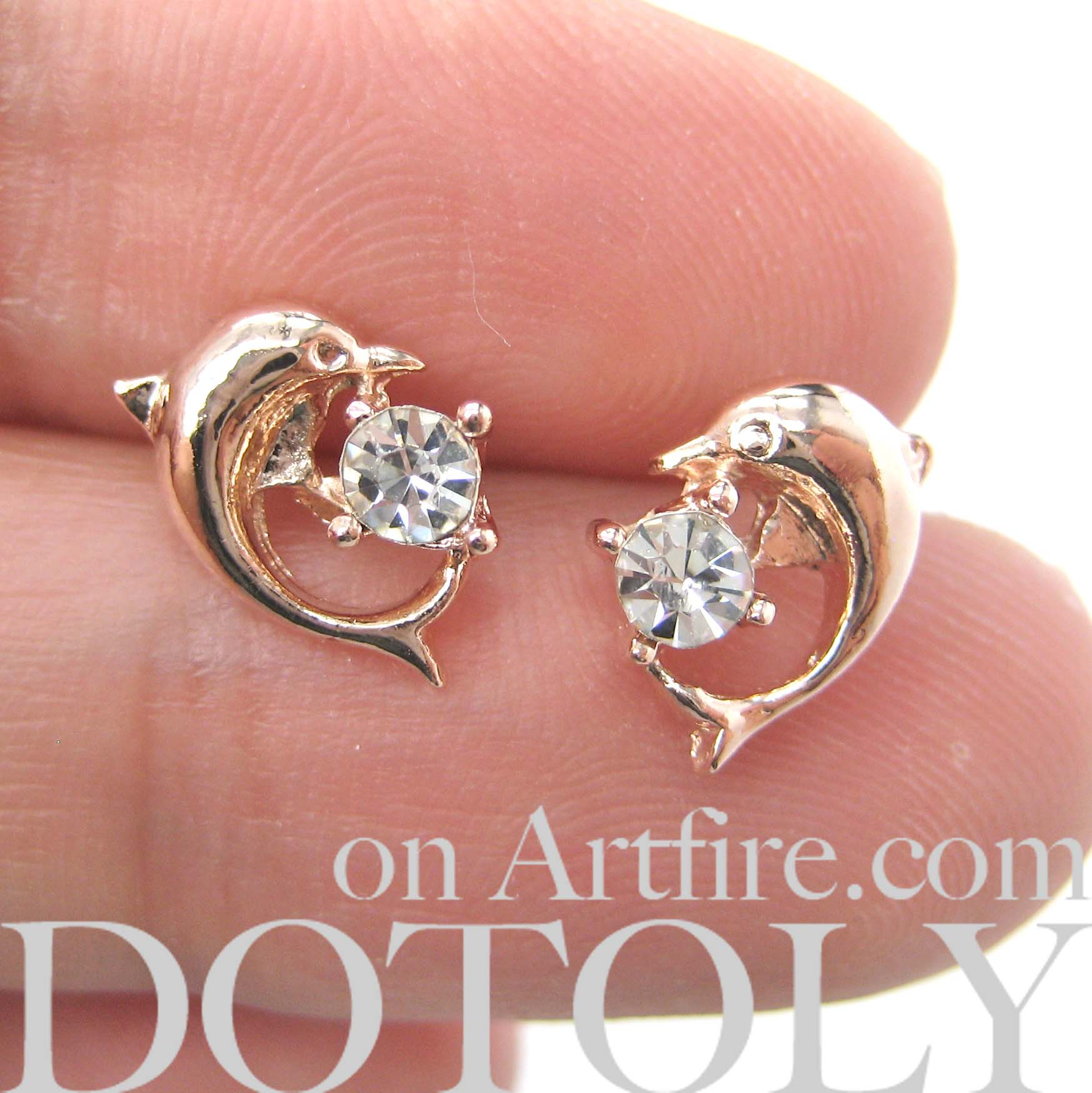 e0466b494 Small Dolphin Fish Sea Animal Stud Earrings in Light Gold - Thumbnail 1 ...