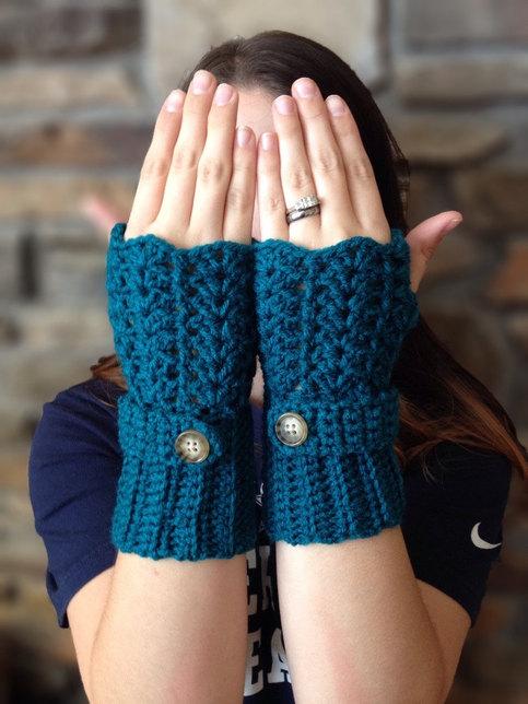 Lace Fingerless Gloves Wrist Warmers Crochet Winter Handmade Button Texting Gloves Teal Green