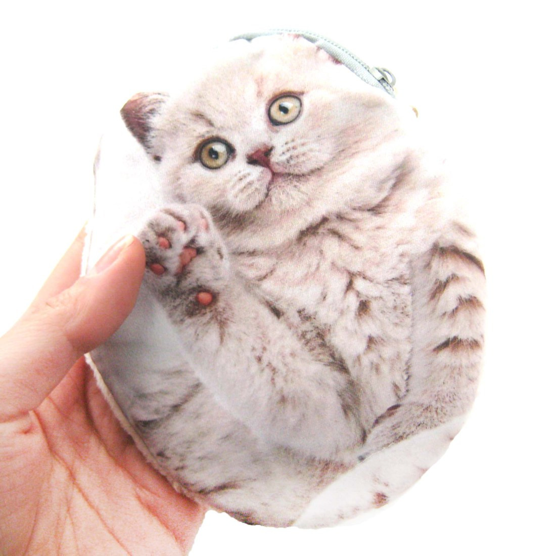 White Fluffy Kitty Cat Kitten Shaped Fabric Zipper Coin Purse Make Up Bag 7f777d105a54a