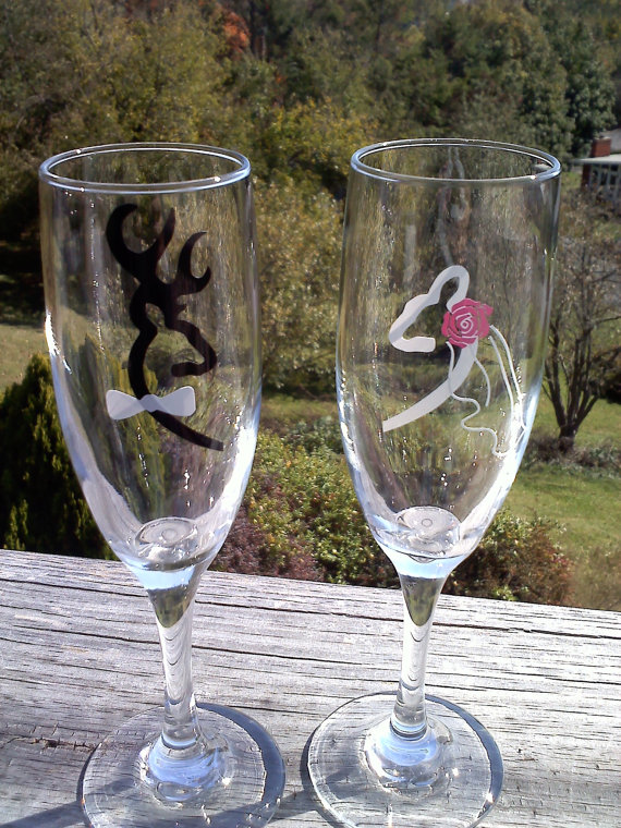 Browning Deer Bride And Groom Wedding Champagne Flutes Toasting Glasses On Storenvy
