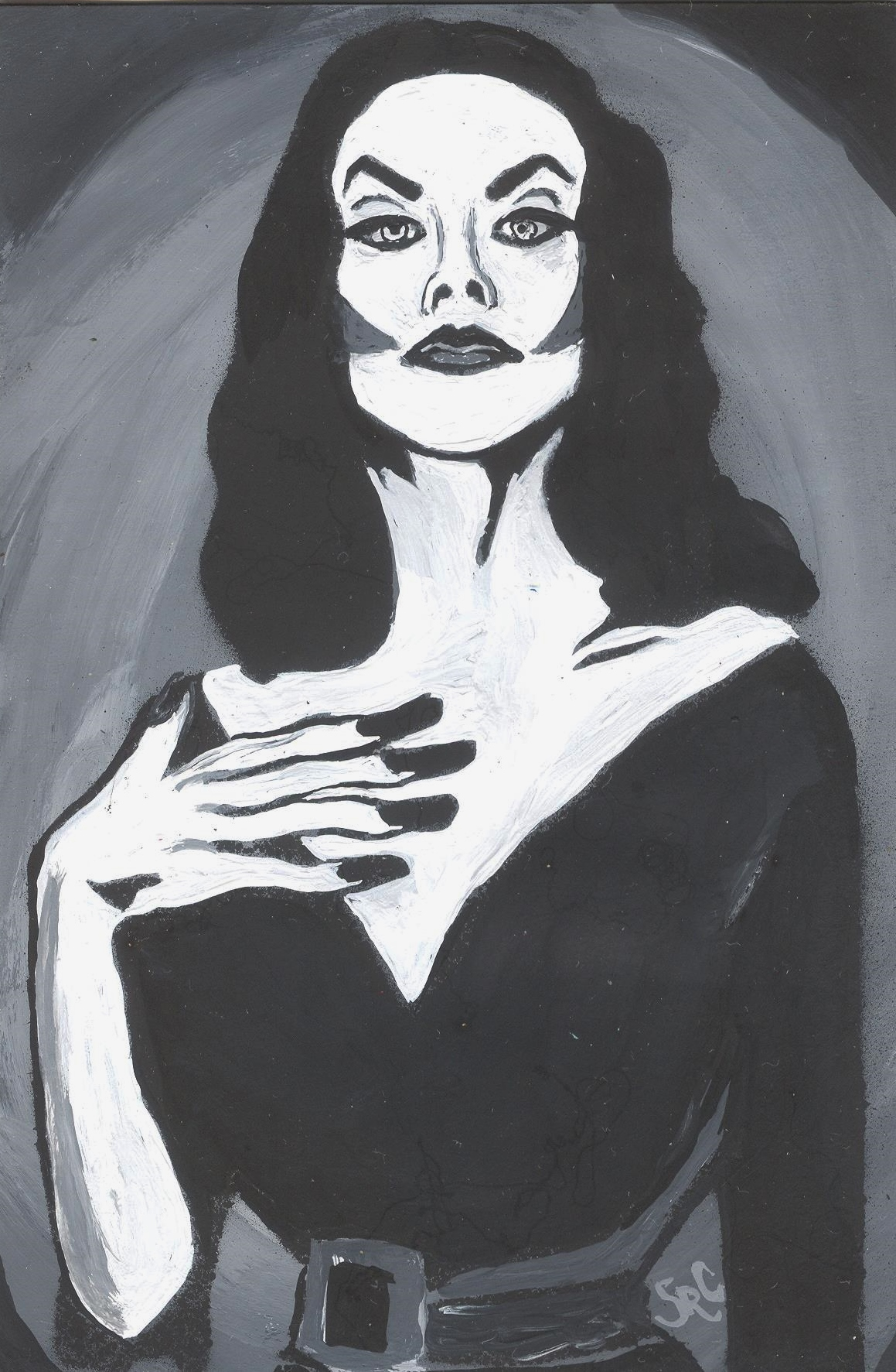Vampira black and white portrait painting on storenvy
