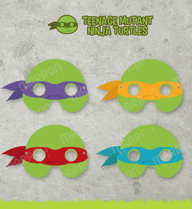 image about Ninja Turtle Mask Printable named Teenage Mutant Ninja Turtles Motivated Leonardo, Donatello, Raphael and Michaelangelo Mask Printable for birthdays, marketed via Marron Studio