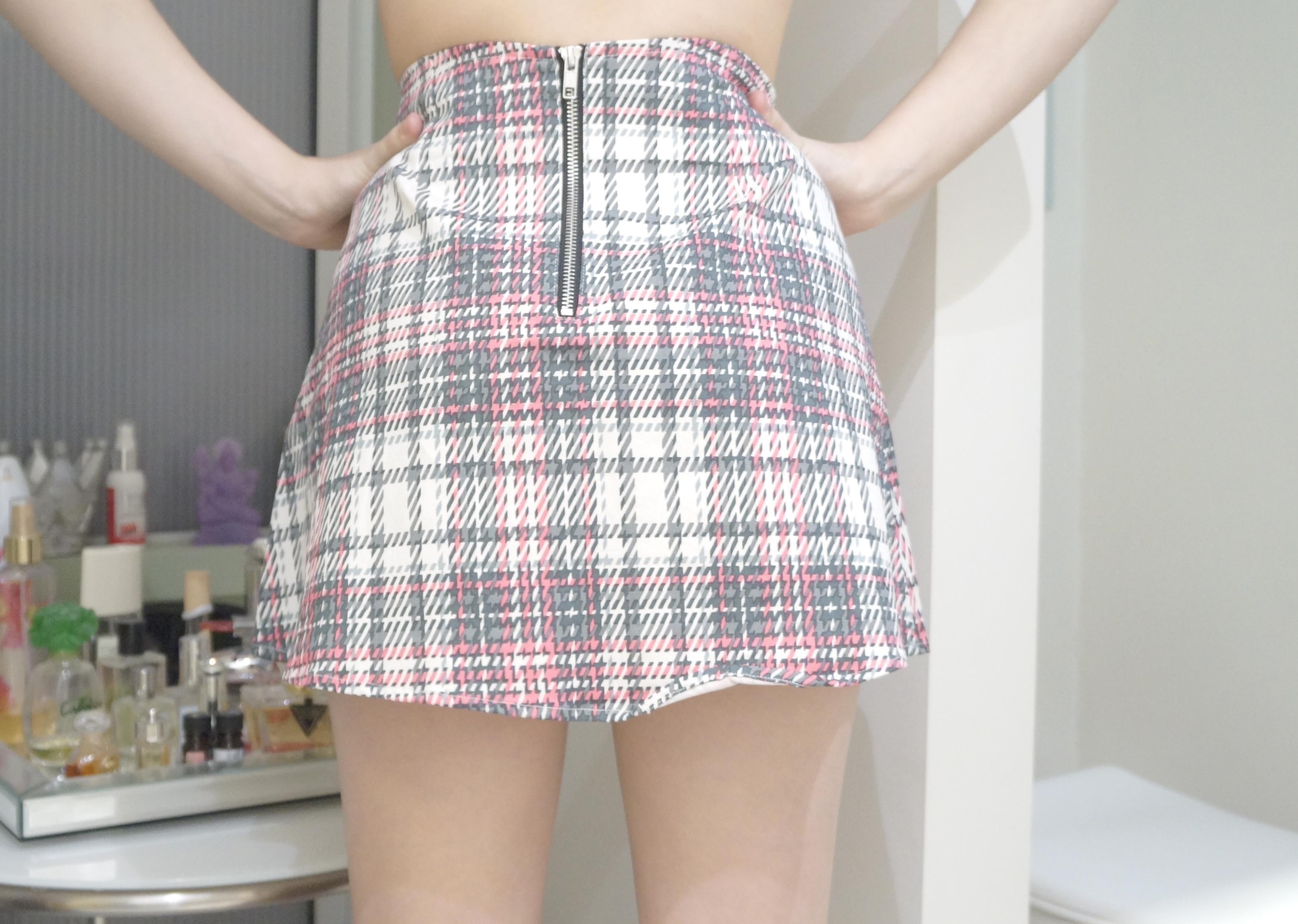 cc86e917ee Nasty Gal Motel Rocks Pink Grey White Plaid Tartan A-line Skirt S -  Thumbnail ...