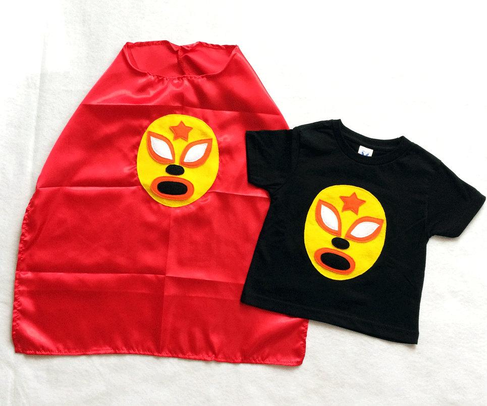 e0097b42b13d7 Luchador Amarillo - Yellow Mexican Wrestler Toddler T-Shirt & Red Cape Combo