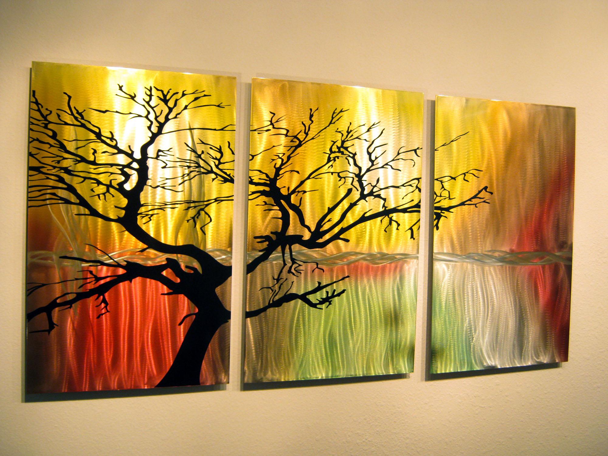 metal wall art panels Tree in Silhouette  Metal Wall Art Contemporary Modern Decor  3  metal wall art panels