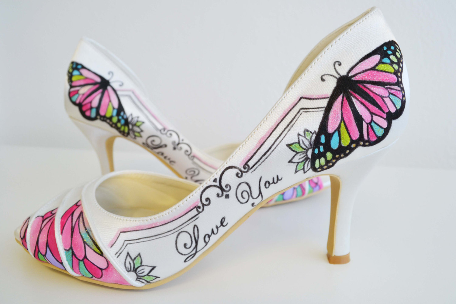 b0d43402d89 Wedding Shoes - Bridal Shoes - Love you Shoes- Hand painted Heels- Pink  Shoes- Butterfly shoes from Ponko World