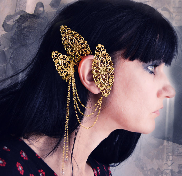 Labyrinth Ear Cuff Ornate Gold Filigree with Chains and ... Labyrinth Ear Band