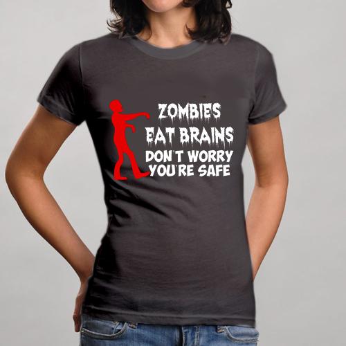 dd2db195 Zombie Eat Brain Funny T-Shirts Sayings Pics For Women Girl Men Guys ...