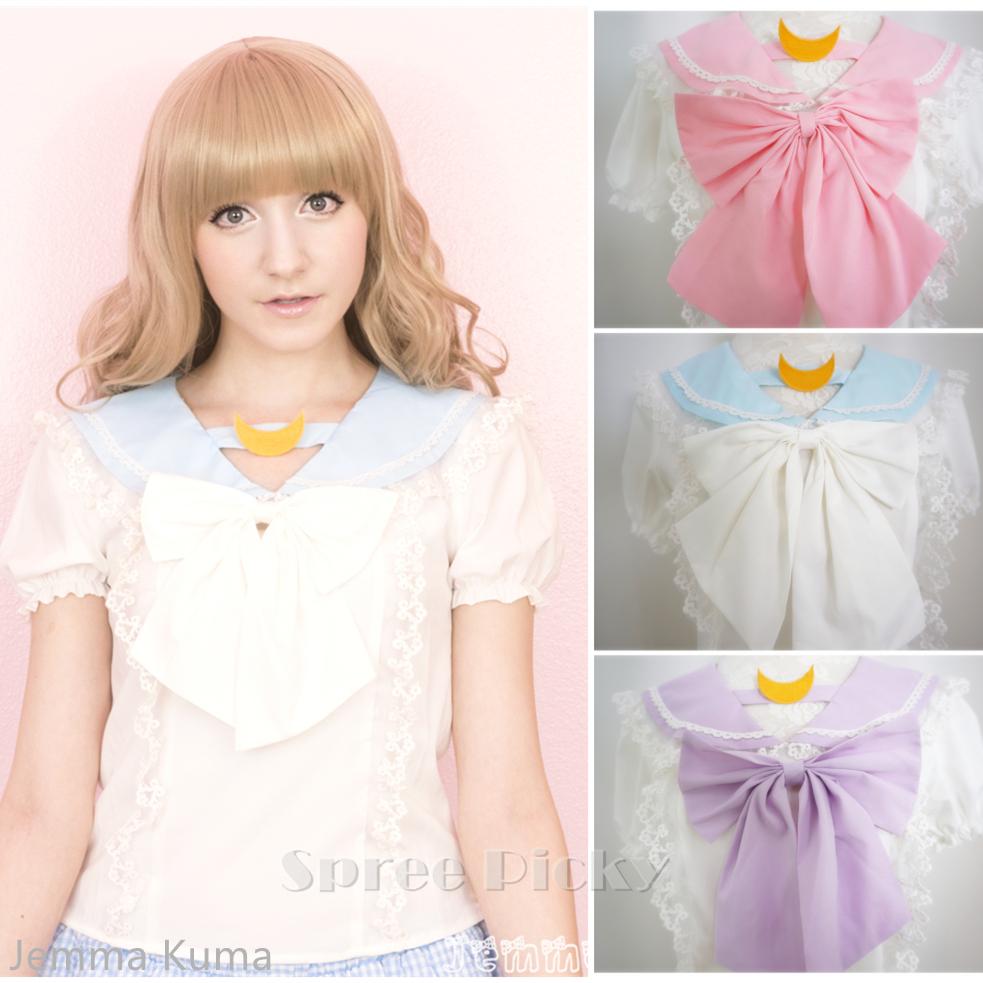 apinko design sailor moon bubble short sleeve bow lace shirt top