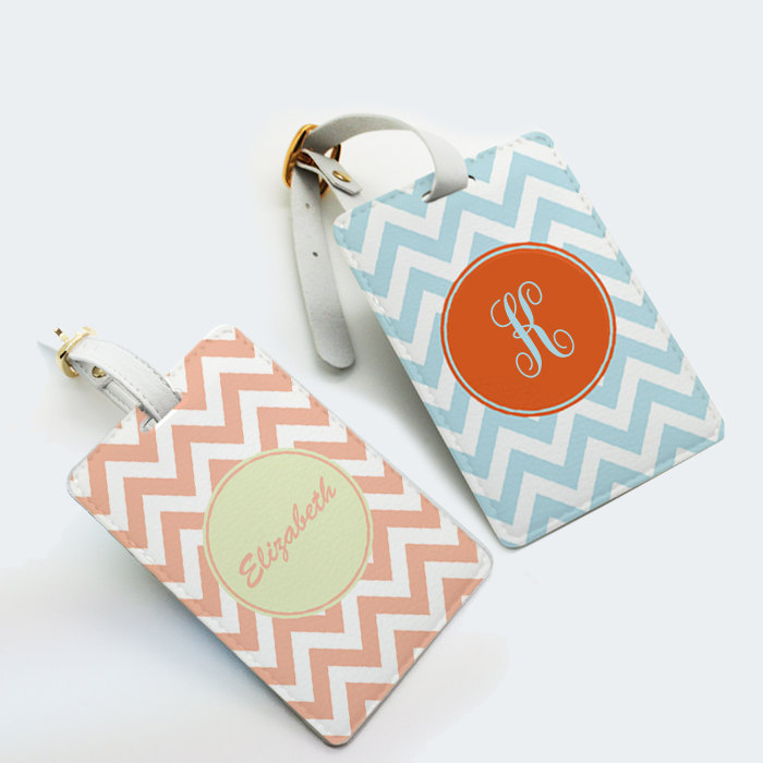 Two Tags Set Personalized Luggage Tag School Office Bag Tag Travel Tag Chevron Zigzag Custom Name Monogram With Strap Many Colors From