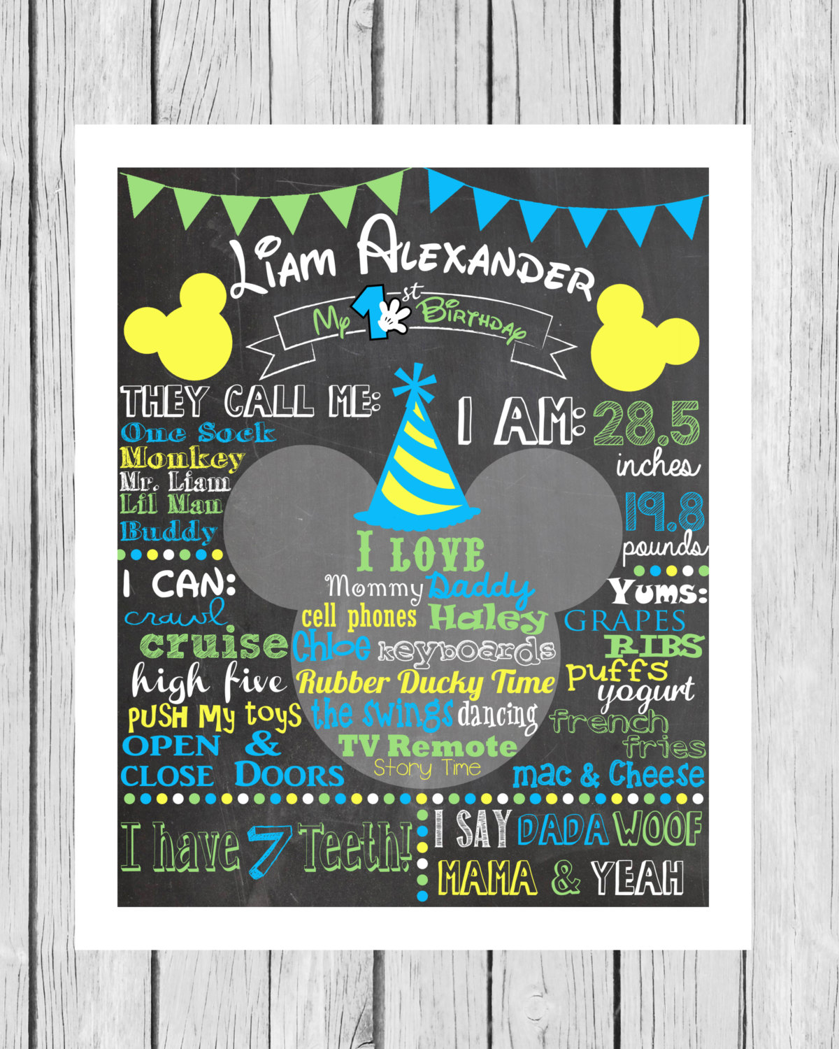 Mickey First Birthday Colored Chalkboard Poster Invitation – Baby Mickey Invitations Birthday