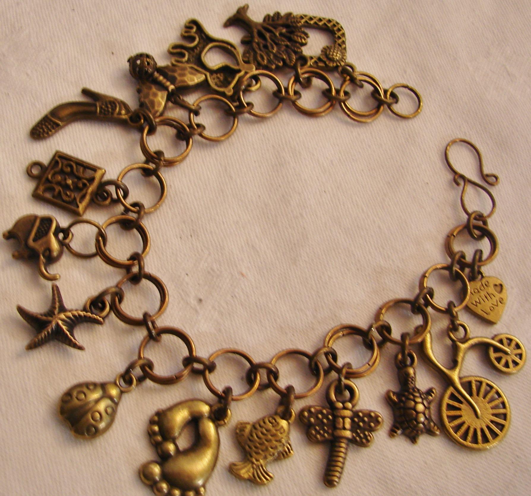 Antique Bronze Charm Bracelet