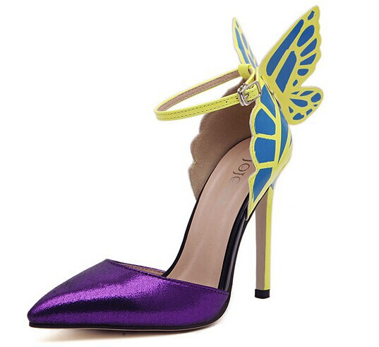 dbee169cf Purple Europe and the United States Sophia vampire diaries butterfly wings  patent leather women with pointy ...