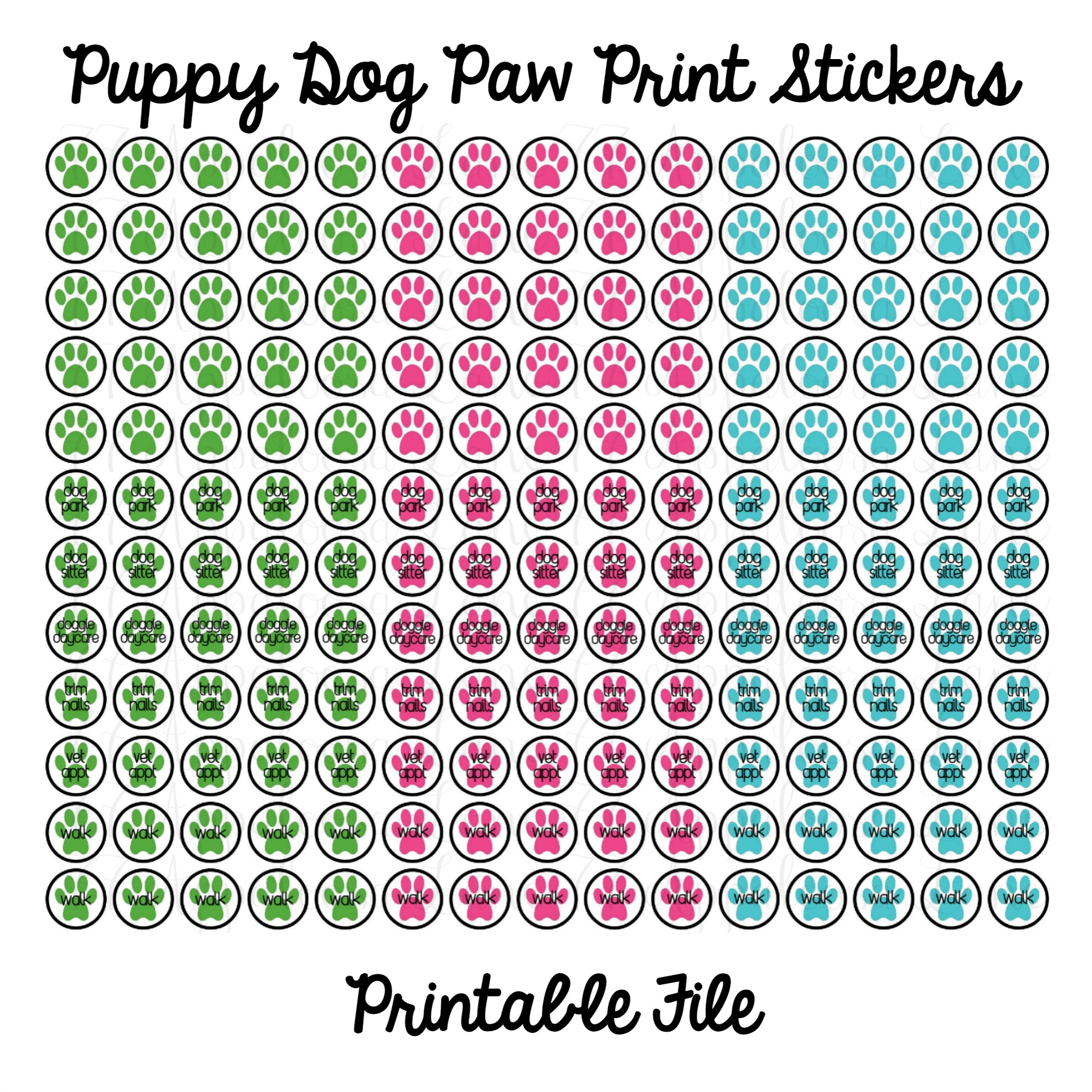 Puppy dog paw print stickers printable digital download thumbnail 3