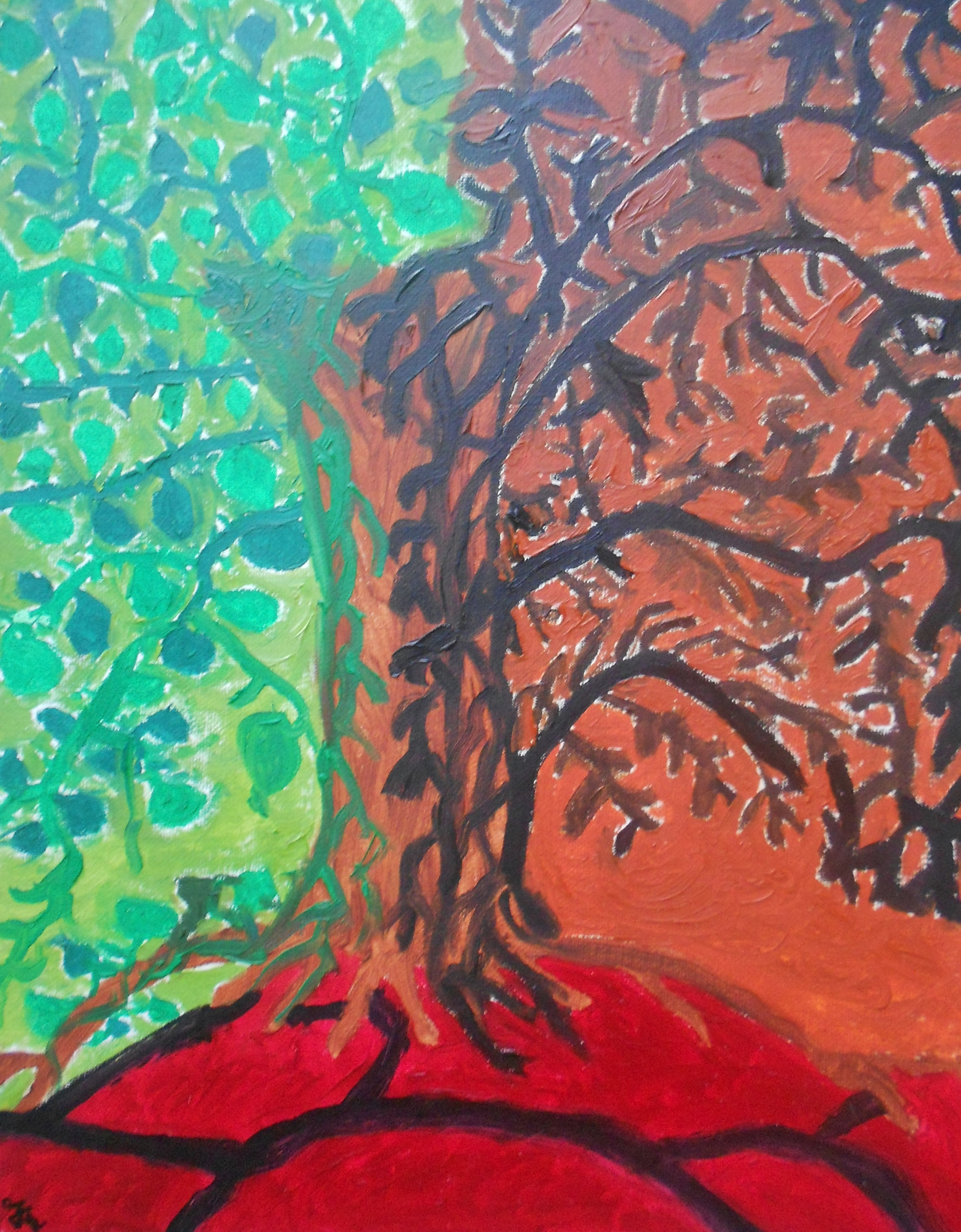 Abstract Painting Tree Life And Death