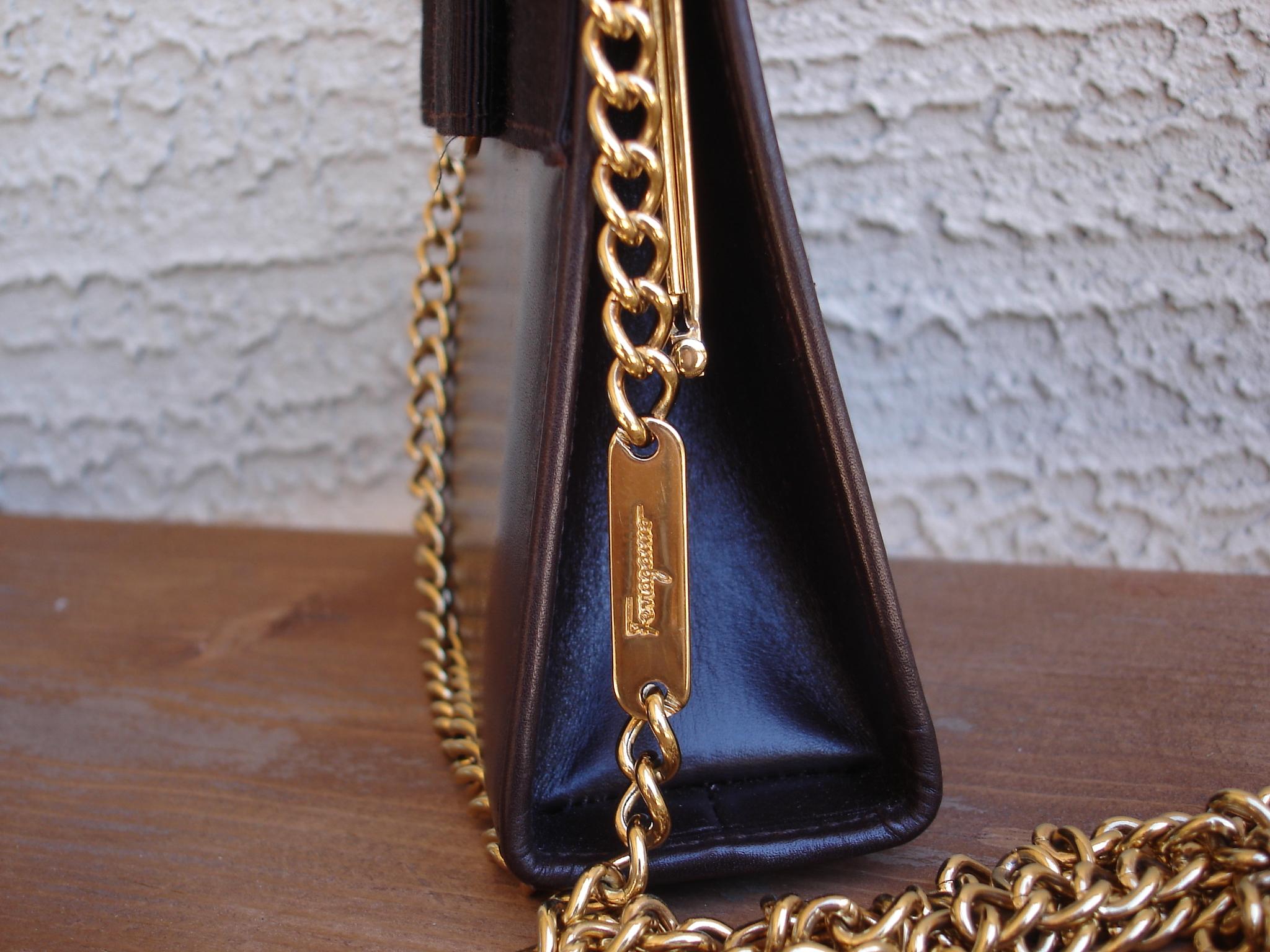 9f6ece2f6 Authentic Vintage Salvatore Ferragamo Vara Gold Chain Brown Leather Mini  Bag Pouch Purse - Thumbnail 1 ...