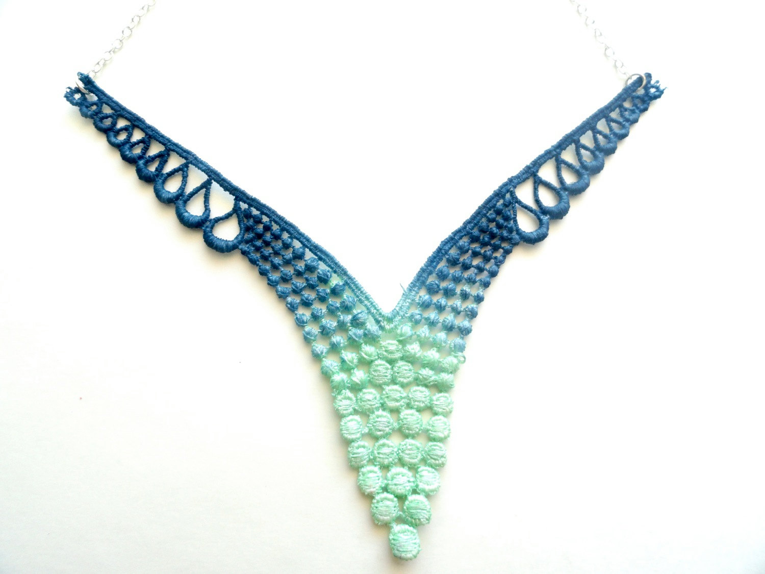 Lace Necklace In Mint Green And Navy Blue Ombre On Storenvy