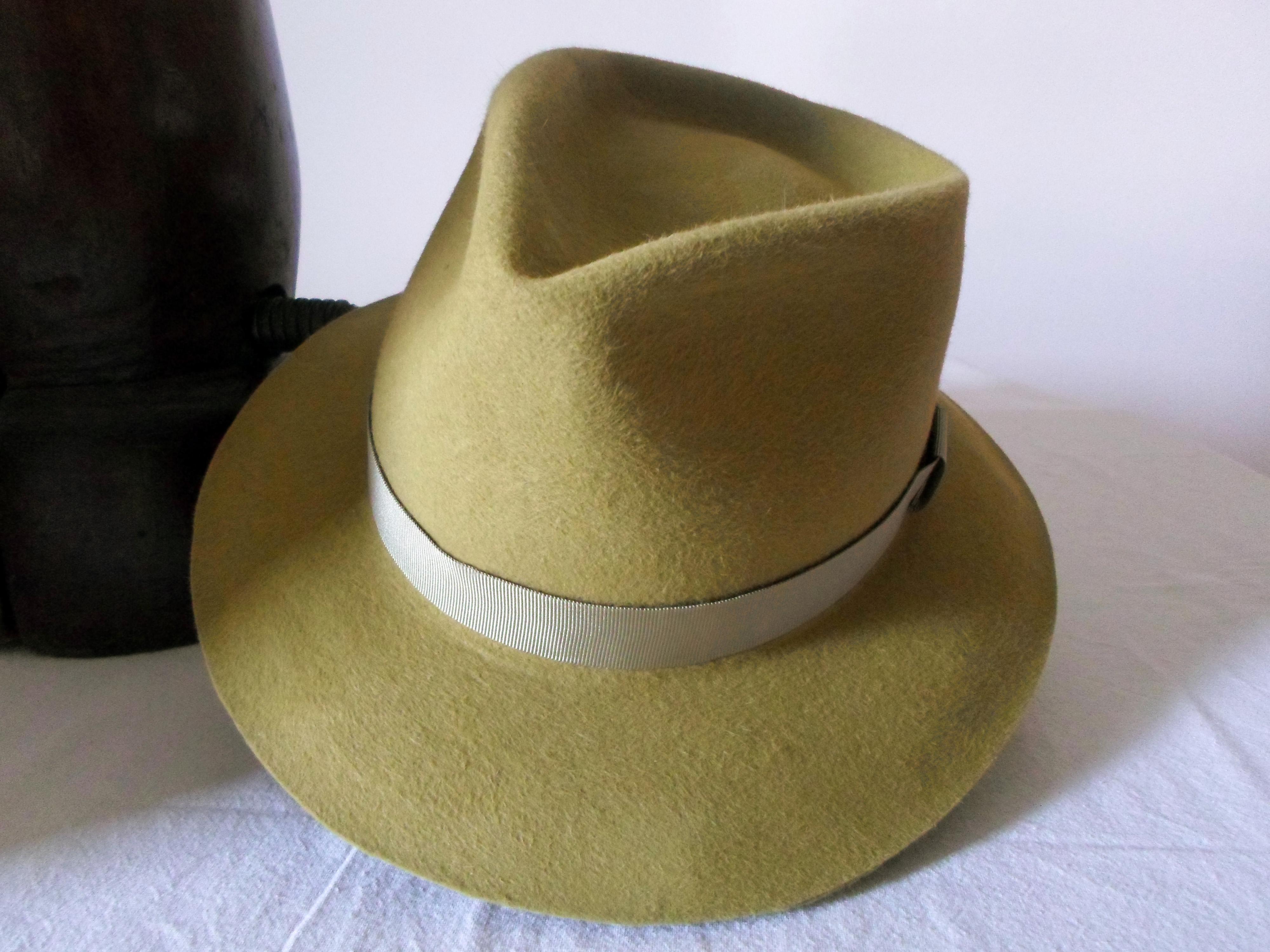 7a5b6bfbbb961 Mustard Yellow Wool Felt Fedora - Wide Brim Merino Wool Felt ...