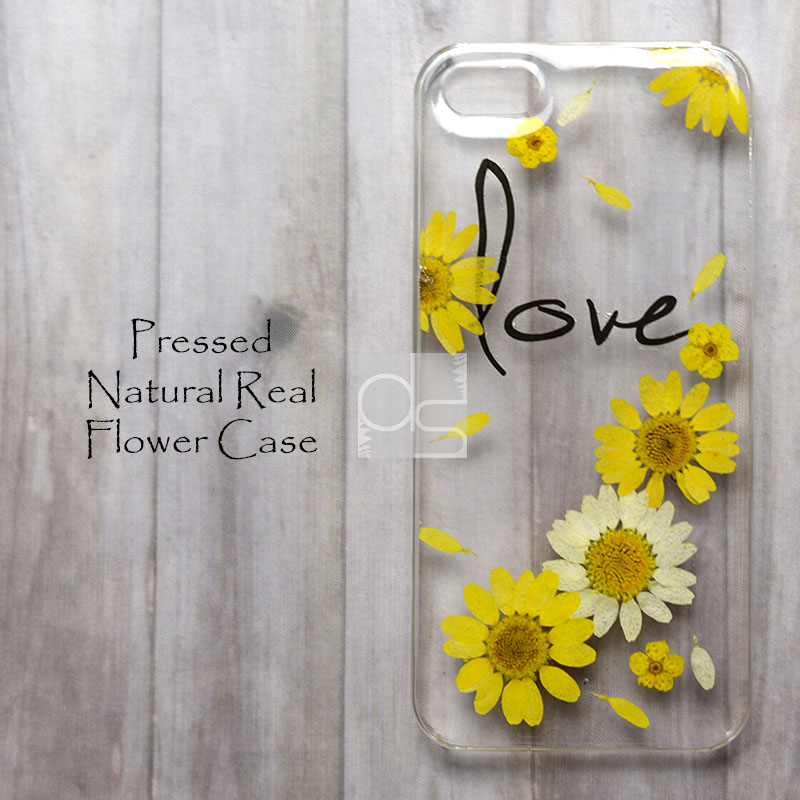 hot sales 8ab93 add43 JZL Daisy Love Natural Pressed Real Flower Bling Clear Resin Hard Skin Case  Cover For iPhone 4 4s 5 5c 5s 6 plus iPod touch 5 LG G2 G3 Nexus 5 E980
