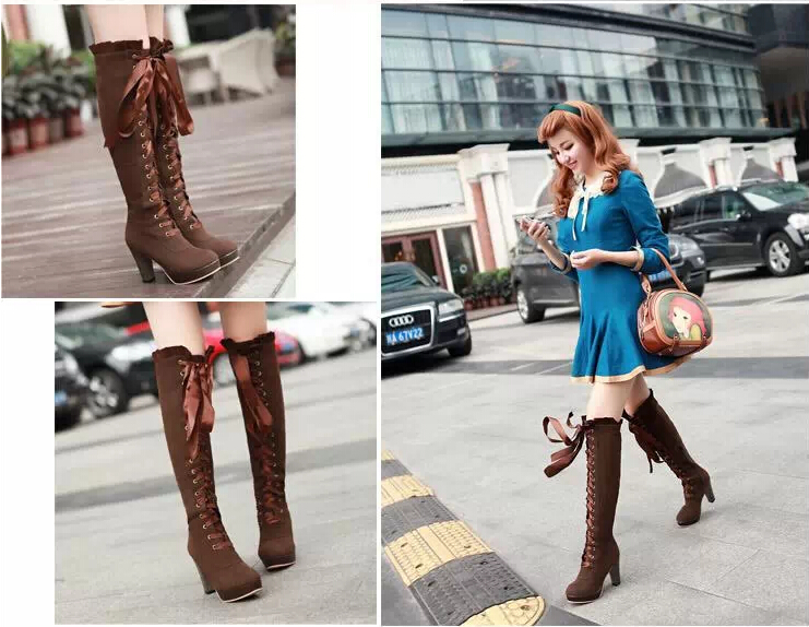 da399f3b3d0d Fashion sexy bow knee high heeled boots for fall winter · Cute ...