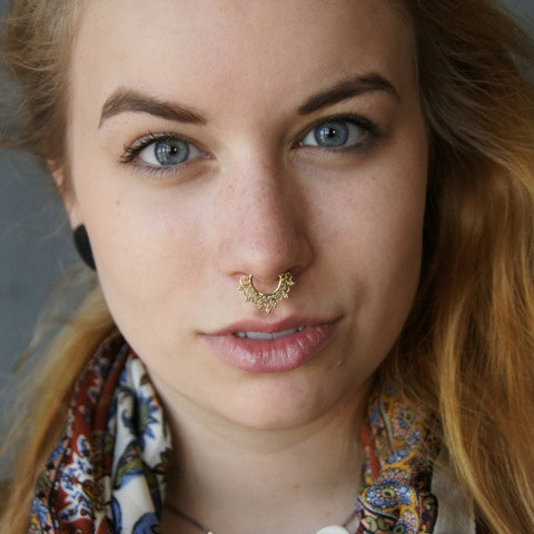 Unique Gold Plated Septum For Non Pierced Nose Septum Jewelry