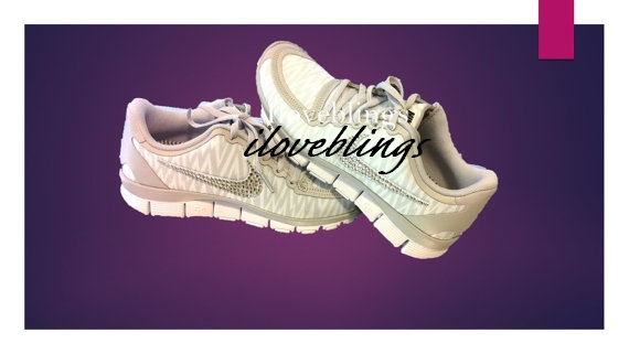 23c61bc701a5 Nike Free 5.0 V4 in Natural Grey White Animal Print with Genuine Swarovski  Crystals